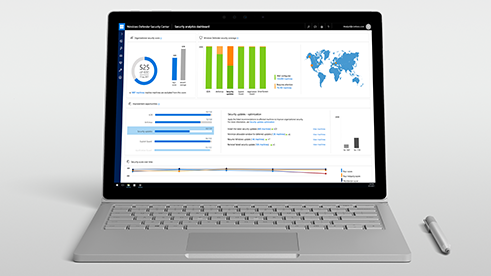 Auf einem Windows 10-Computerbildschirm wird das Windows Advanced Threat Protection-Dashboard angezeigt.