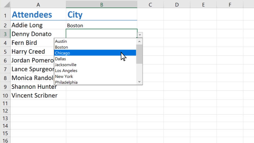 create a drop down list office support