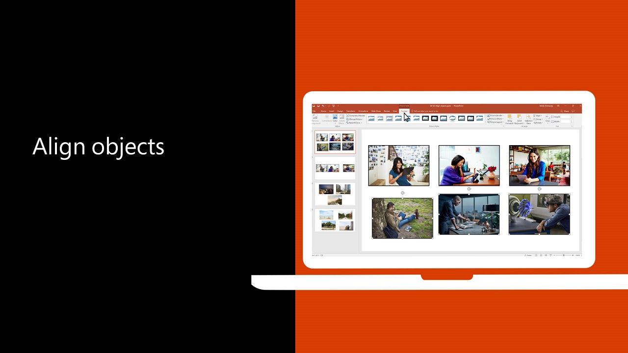 0662466c9910 Video  Align and arrange objects on a slide - PowerPoint