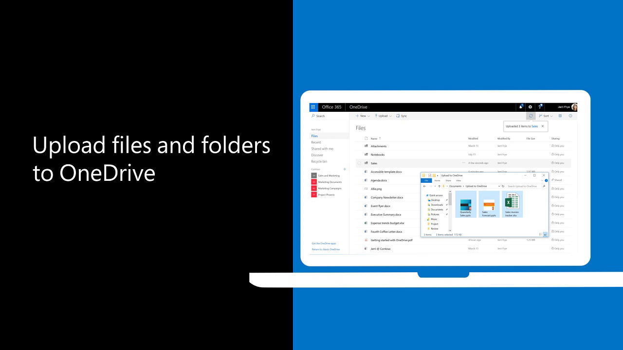 Upload photos and files to OneDrive - OneDrive