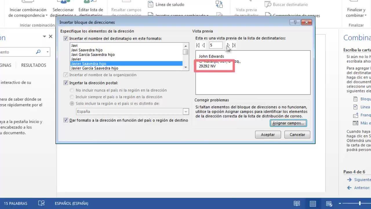 Usar la combinación de correspondencia para enviar datos a Word ...