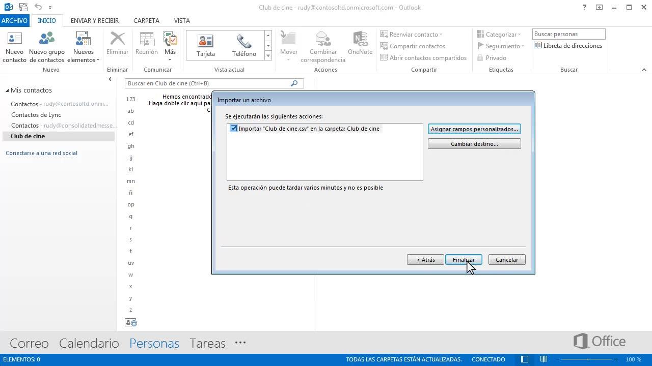 Crear un grupo de contactos a partir de una lista de Excel - Outlook