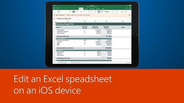 Edit an Excel spreadsheet on an iOS device