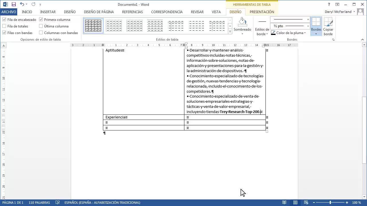 Aplicar formato mediante tablas - Word
