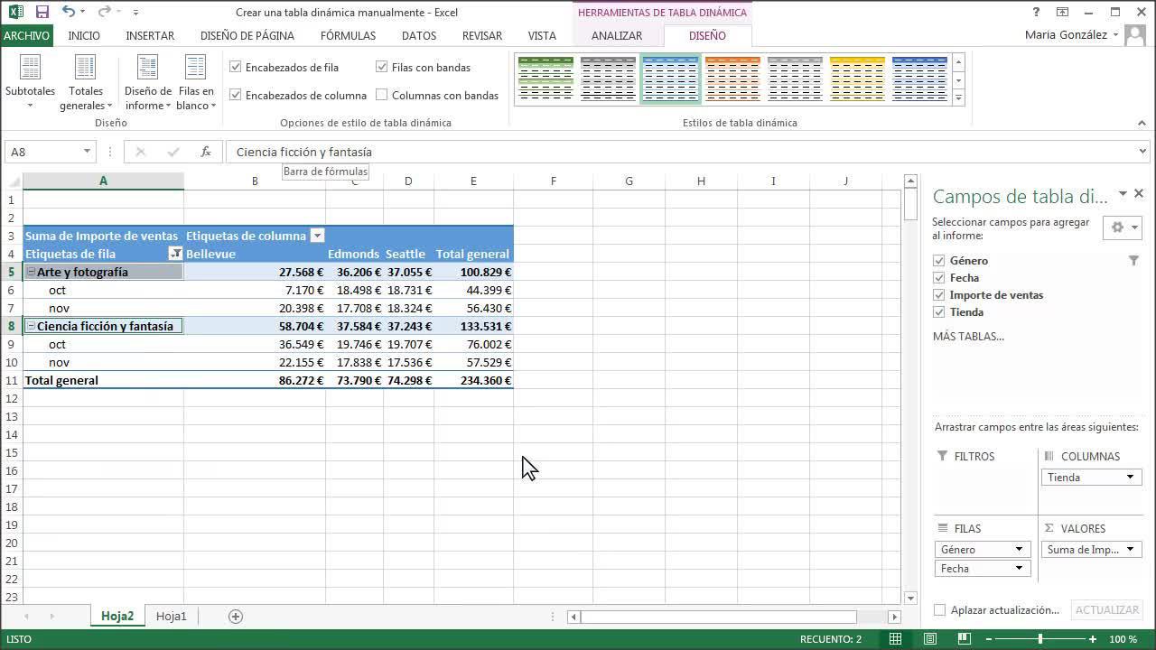 Ordenar, filtrar, resumir y calcular los datos de una tabla dinámica ...