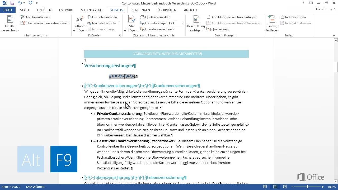 Hinzufügen von mehreren Inhaltsverzeichnissen zu einem Dokument - Word