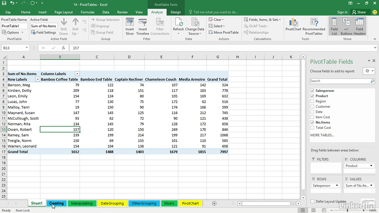pivot tables excel tutorial to complete the new pivot table
