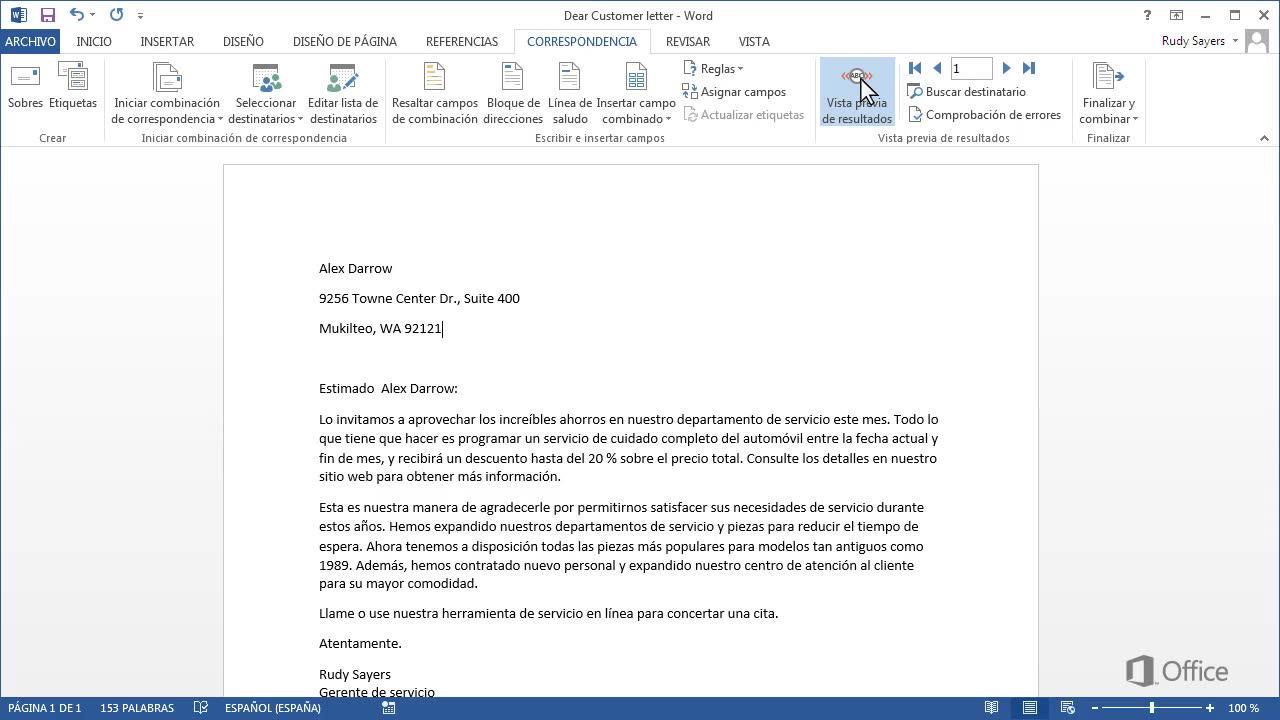 Imprimir cartas con la combinación de correspondencia - Soporte de ...