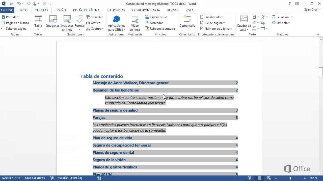 Vídeo: Agregar entradas personalizadas a una tabla de contenido - Word