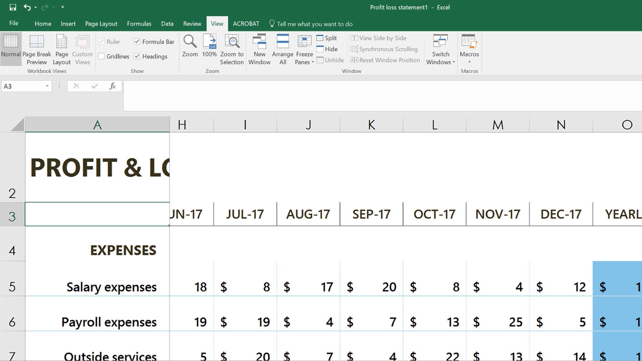 Freeze columns or rows