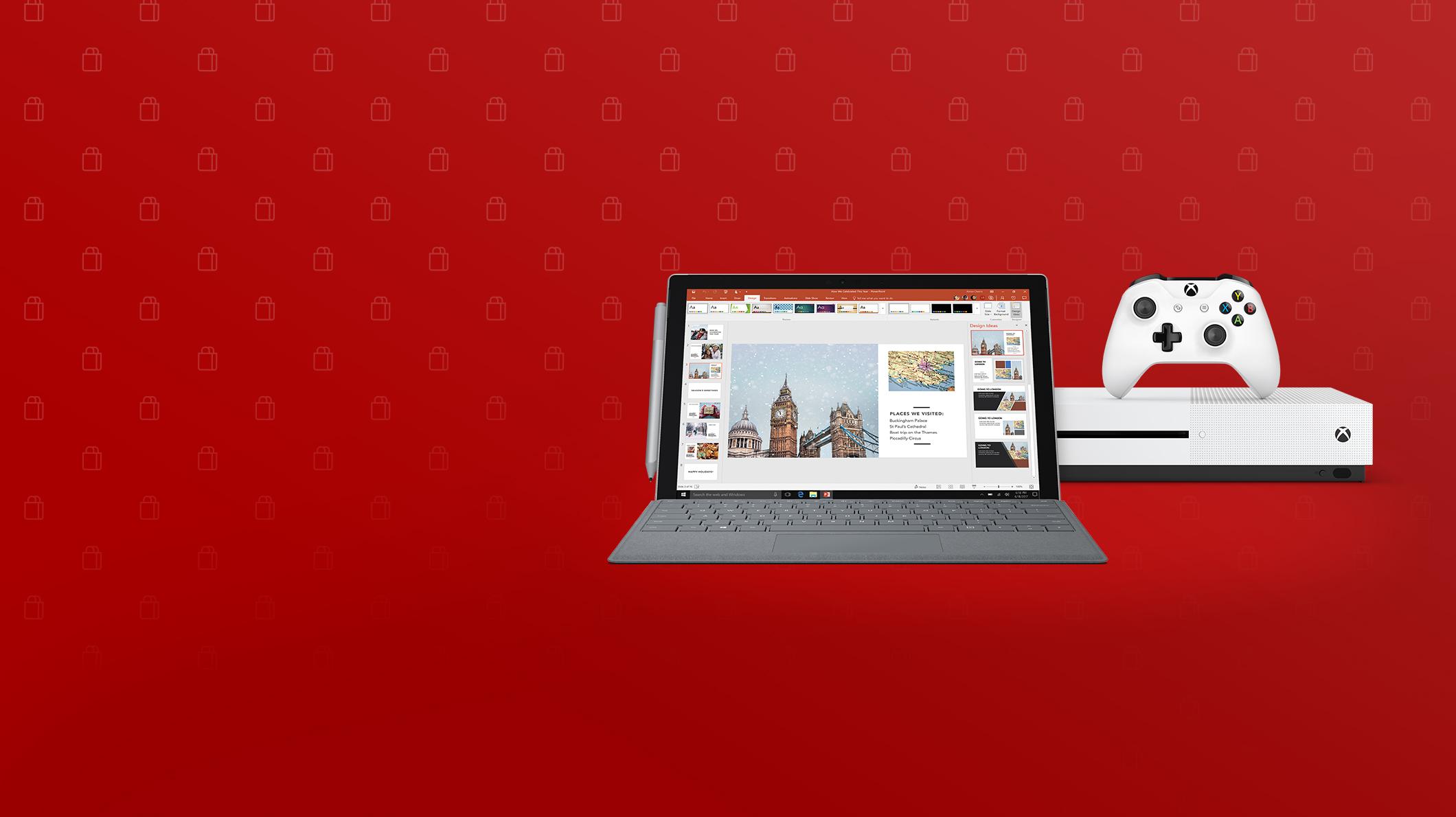 在画面上有一台微软Surface Pro中文版(新), 一支微软Surface触控笔(新), 一台Xbox One S家庭娱乐游戏机和一支微软Xbox无线控制器(新)白色