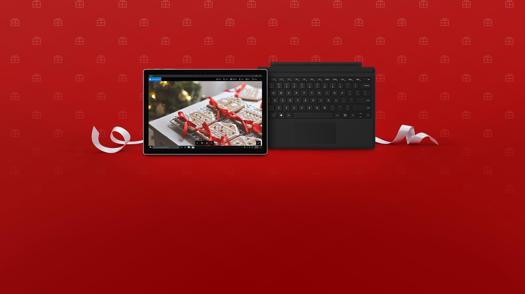 Surface Pro con funda con teclado negra.
