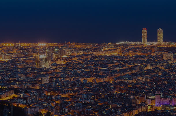 Skyline view of Barcelona, Spain