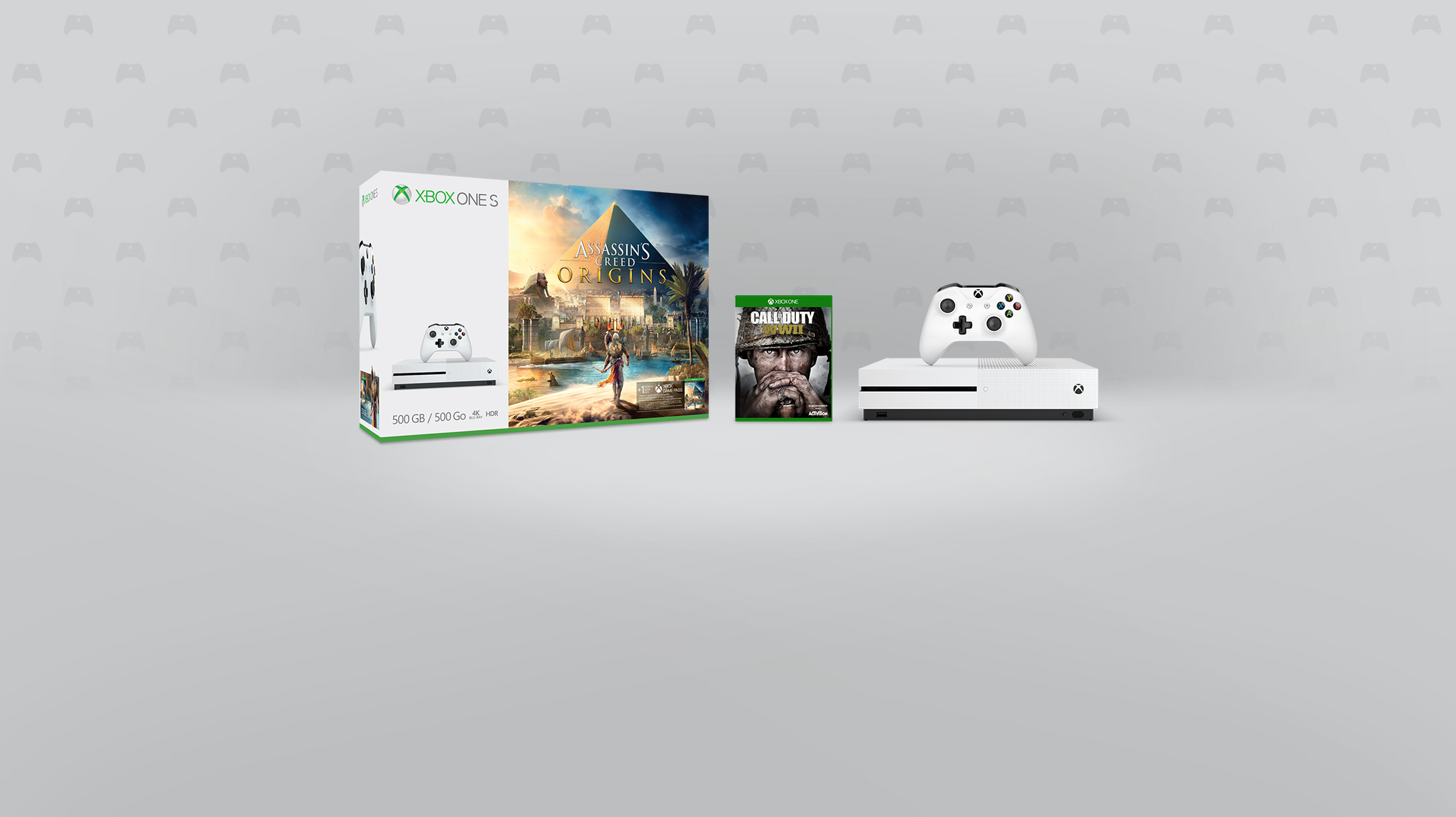 Jeu Call of Duty WWII, Assassin's Creed Origins, console Xbox One S