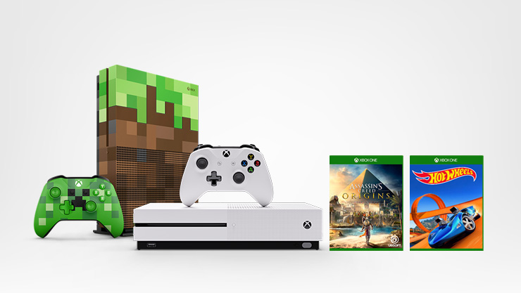 Xbox One S, édition minecraft, assassin's creed origin's et Forza Hot Wheels