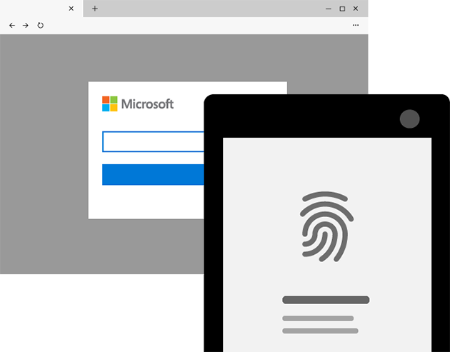 The Microsoft sign in screen is paired with a phone, indicating that you can sign in with fingerprint.