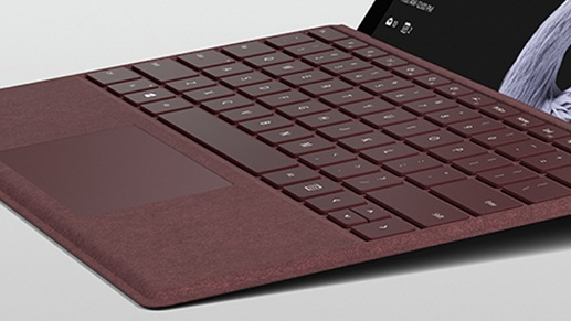 Close up of burgundy Surface keyboard