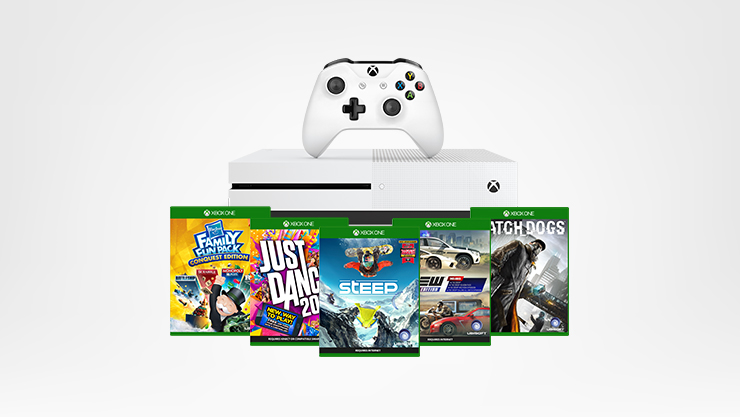Xbox One S console with controller and various games