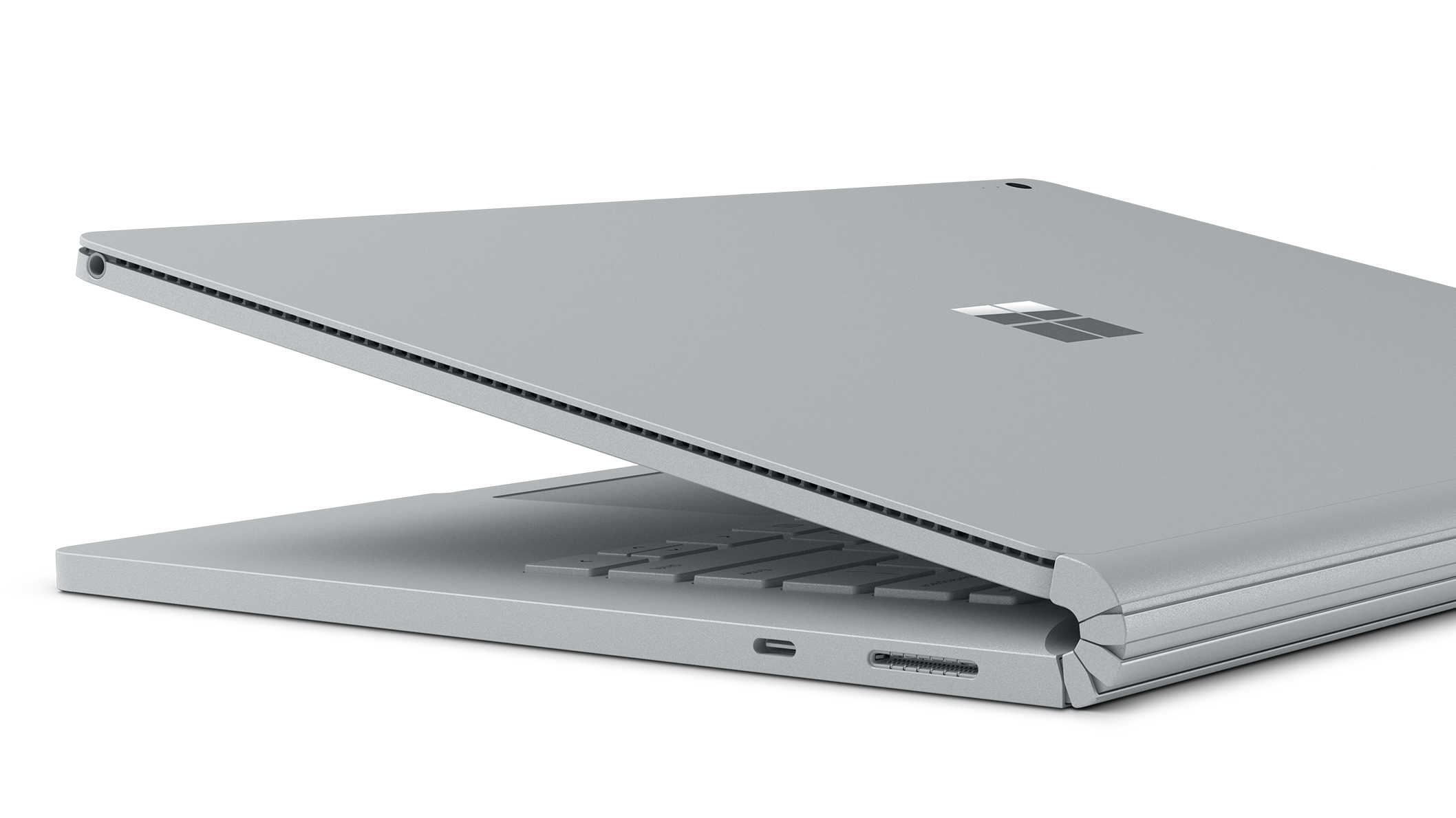 Close up of closing Surface Book 2