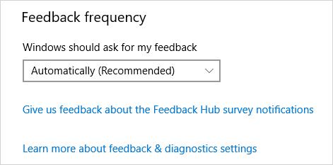 Feedback and diagnostics settings