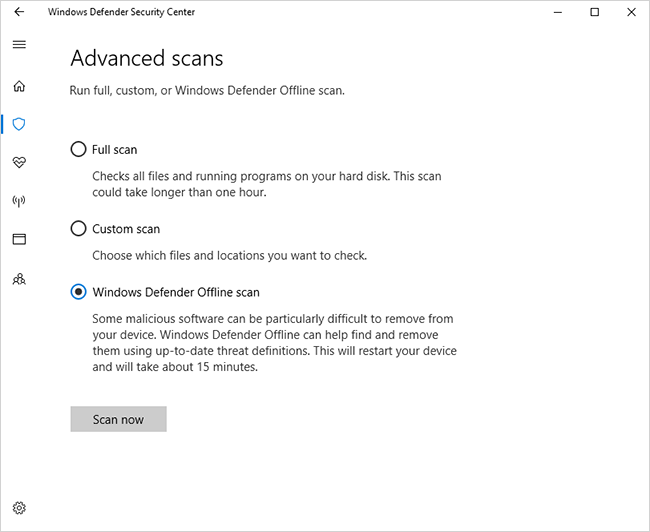 Windows Defender Offline scan on Windows 10