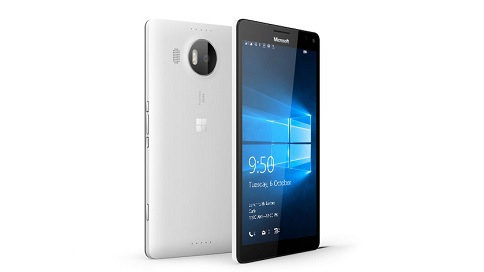 Two white Lumia 950 XL phones with one facing backward and the other facing forward with