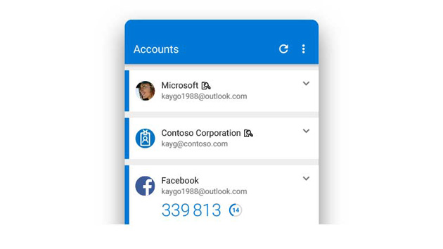 The authenticator app, showing Outlook, Contoso and Facebook accounts