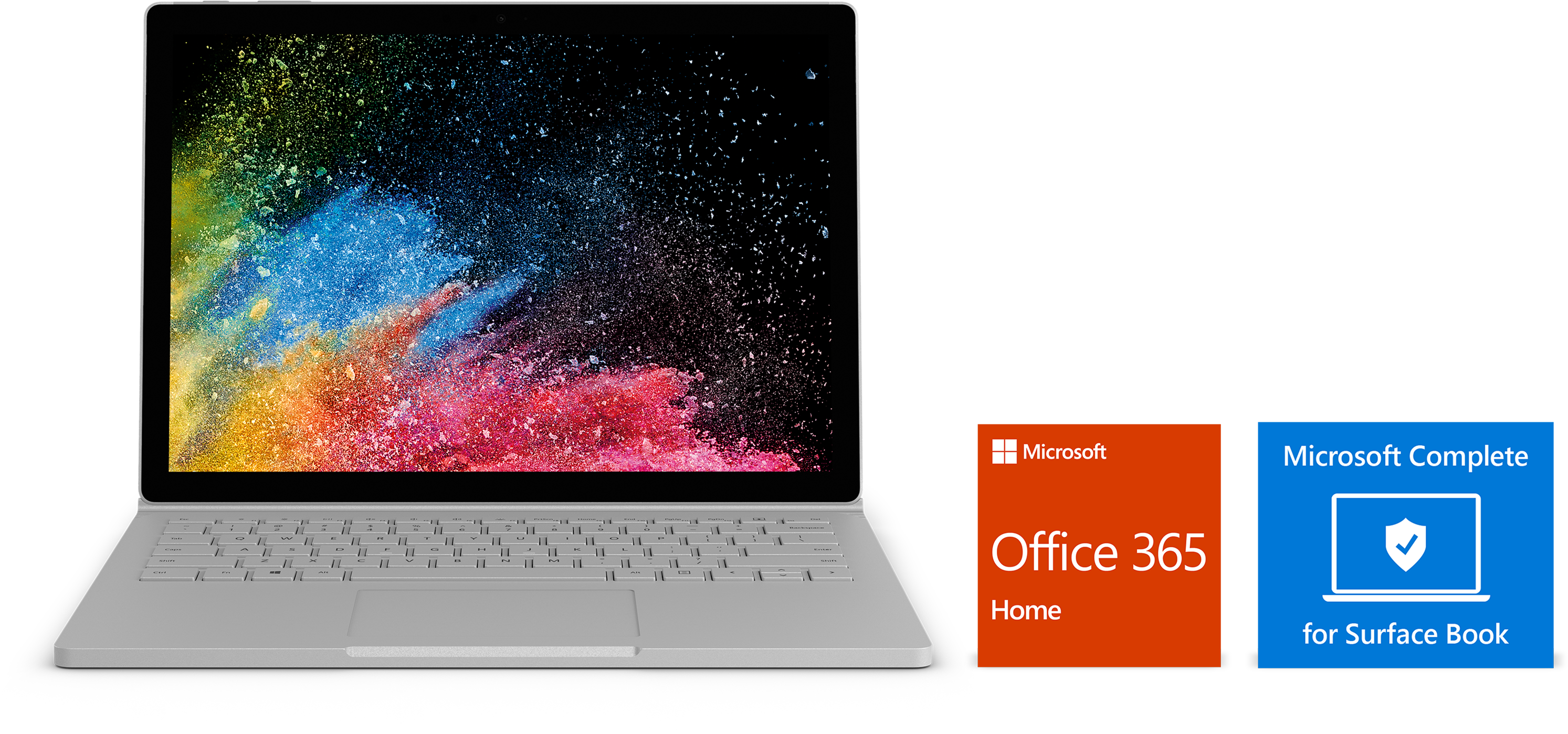 Surface Book 2, sleeve, Office 365 and Microsoft Complete tile