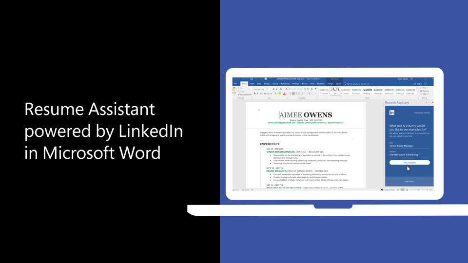 write your best resume with help from linkedin and resume assistant office support