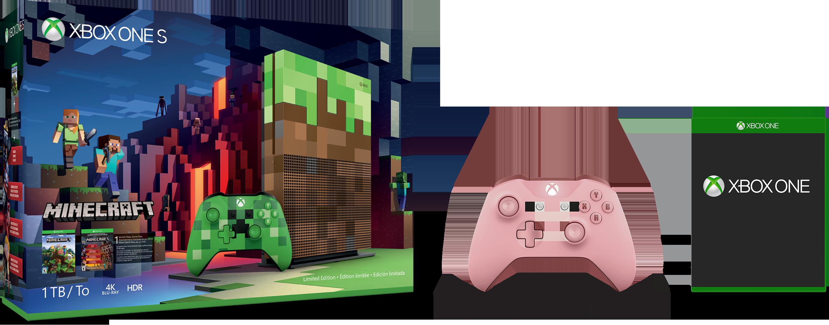 Xbox One S 1 TB Console – Microsoft Rewards Minecraft Family Bundle