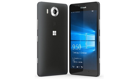 Two black Lumia 950 phones with one facing backward and the other facing forward with Windows