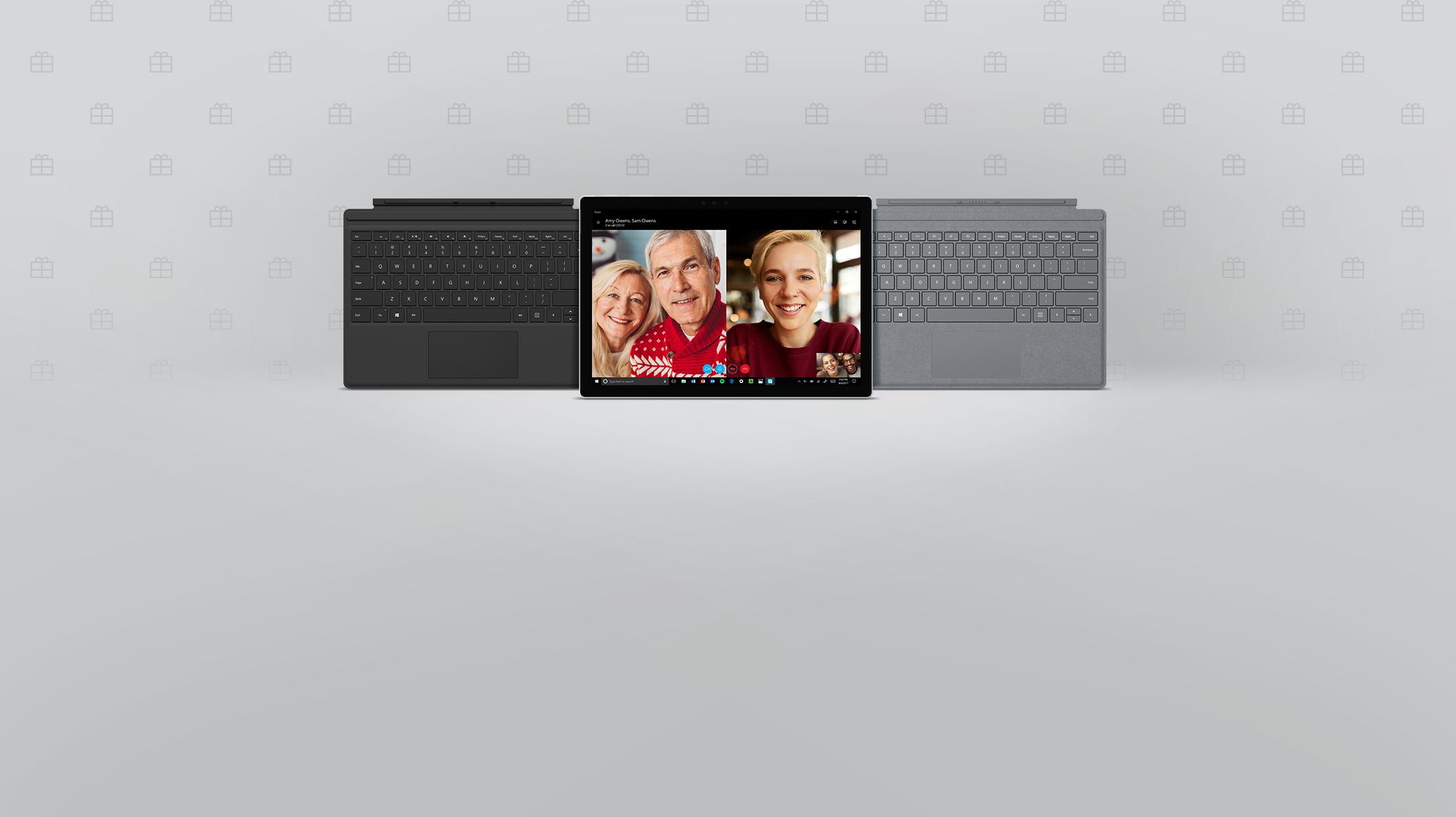 Surface Pro con 2 fundas con teclado.
