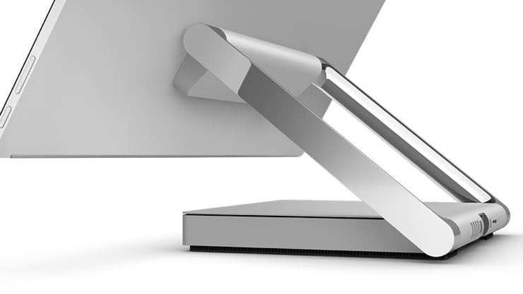 surface studio back view, angled, cropped, zoomed in on hinge