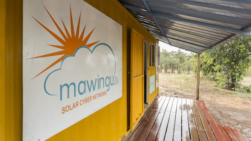 Photo of a solar cyber network cafe.