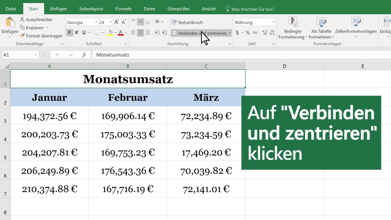 Verbinden und Teilen von Zellen - Excel