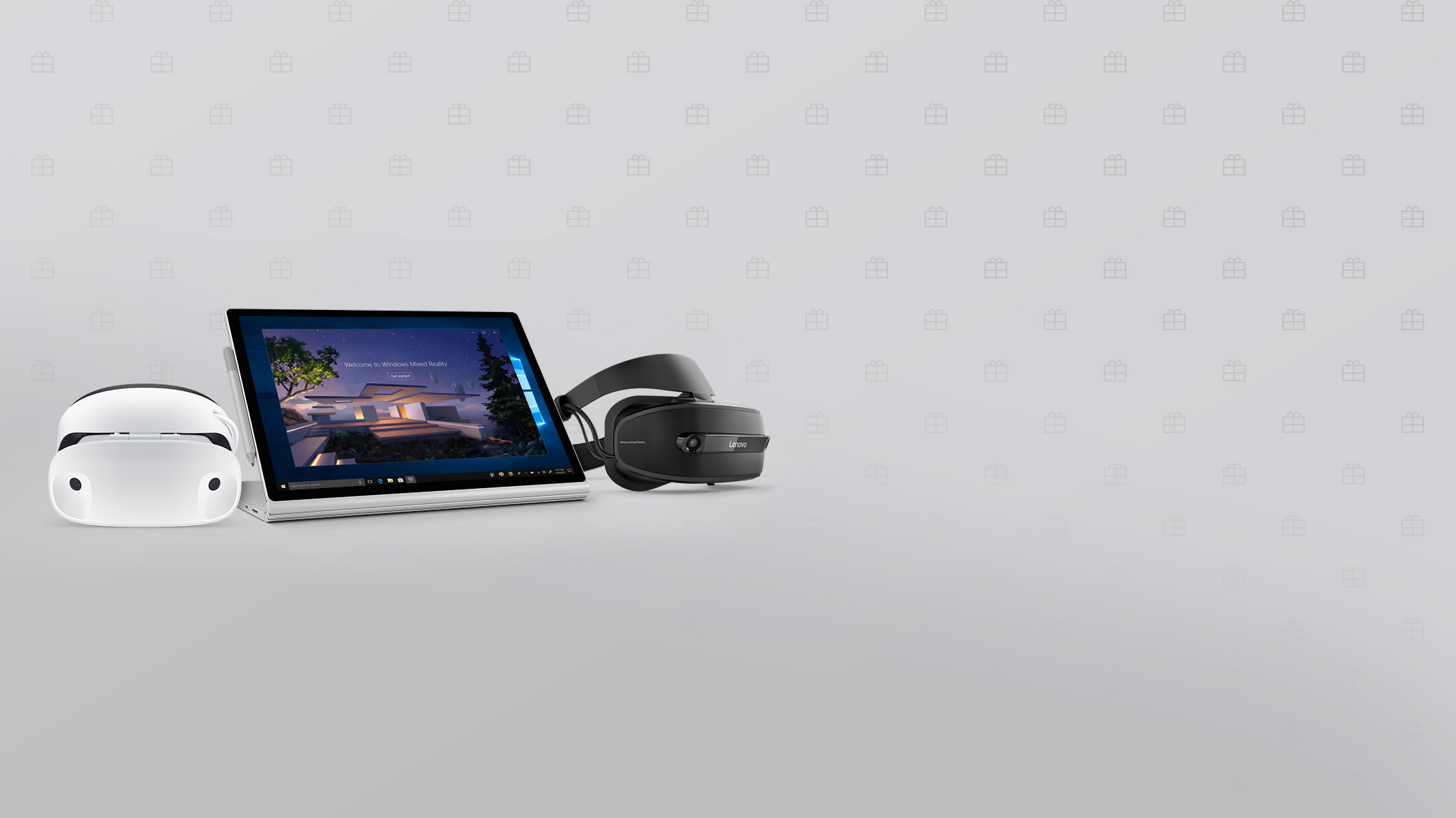 A Surface Book 2 and Windows Mixed Reality headsets