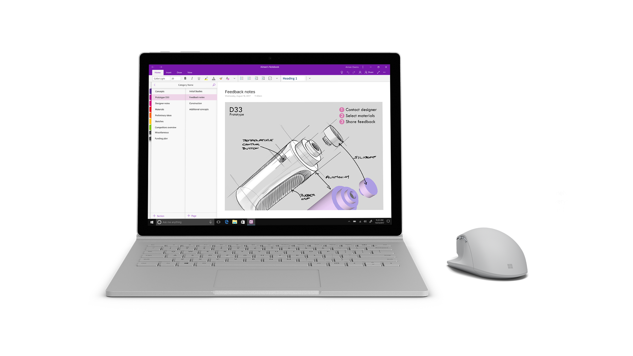 Surface Precision Mouse next to a Surface Book 2 running OneNote