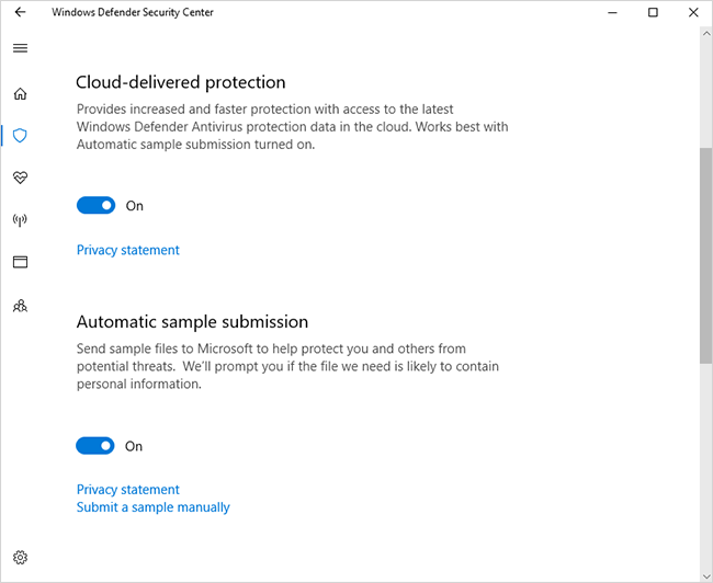 Windows Defender Security Center Virus and threat protection settings