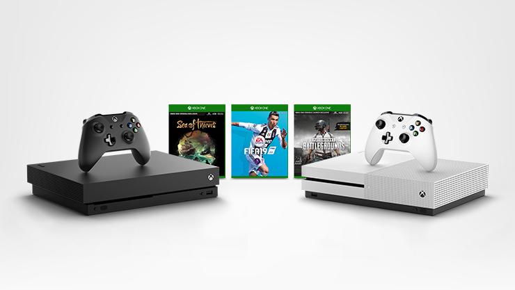 An Xbox One X, three games, and an Xbox One S