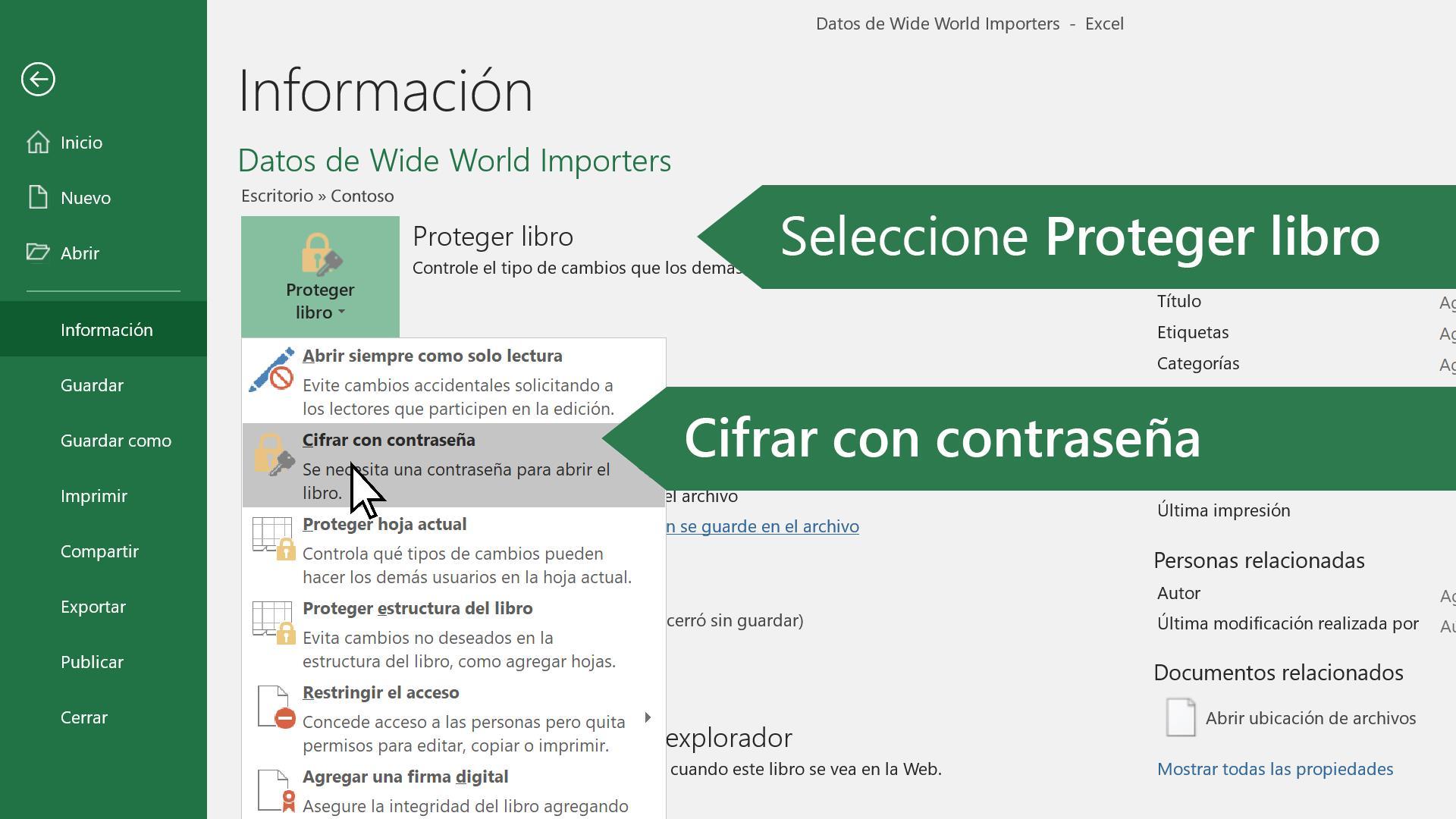 Proteger un archivo de Excel - Soporte de Office