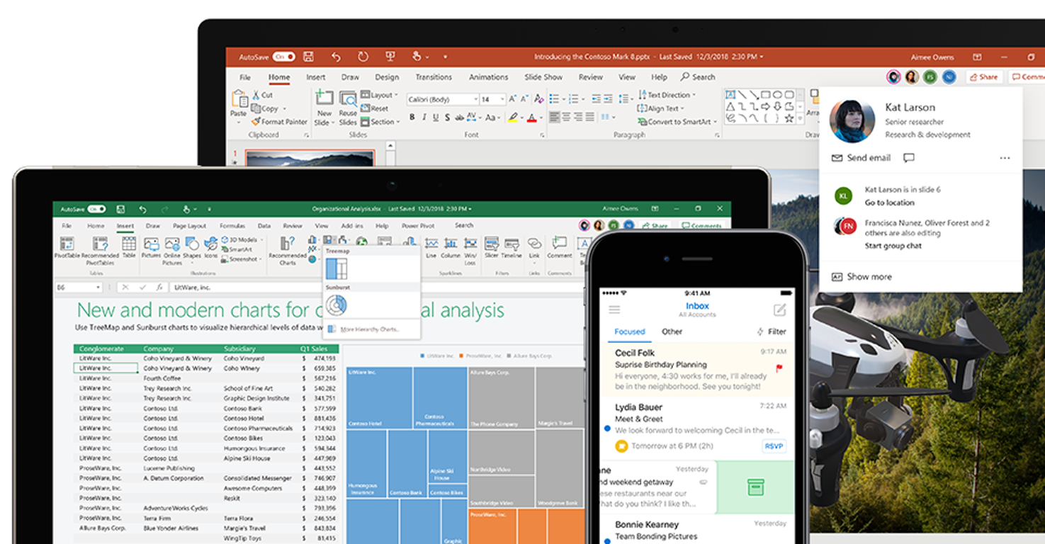 Photo of a phone, tablet, and laptop displaying different features with Office 365 ProPlus on screen.