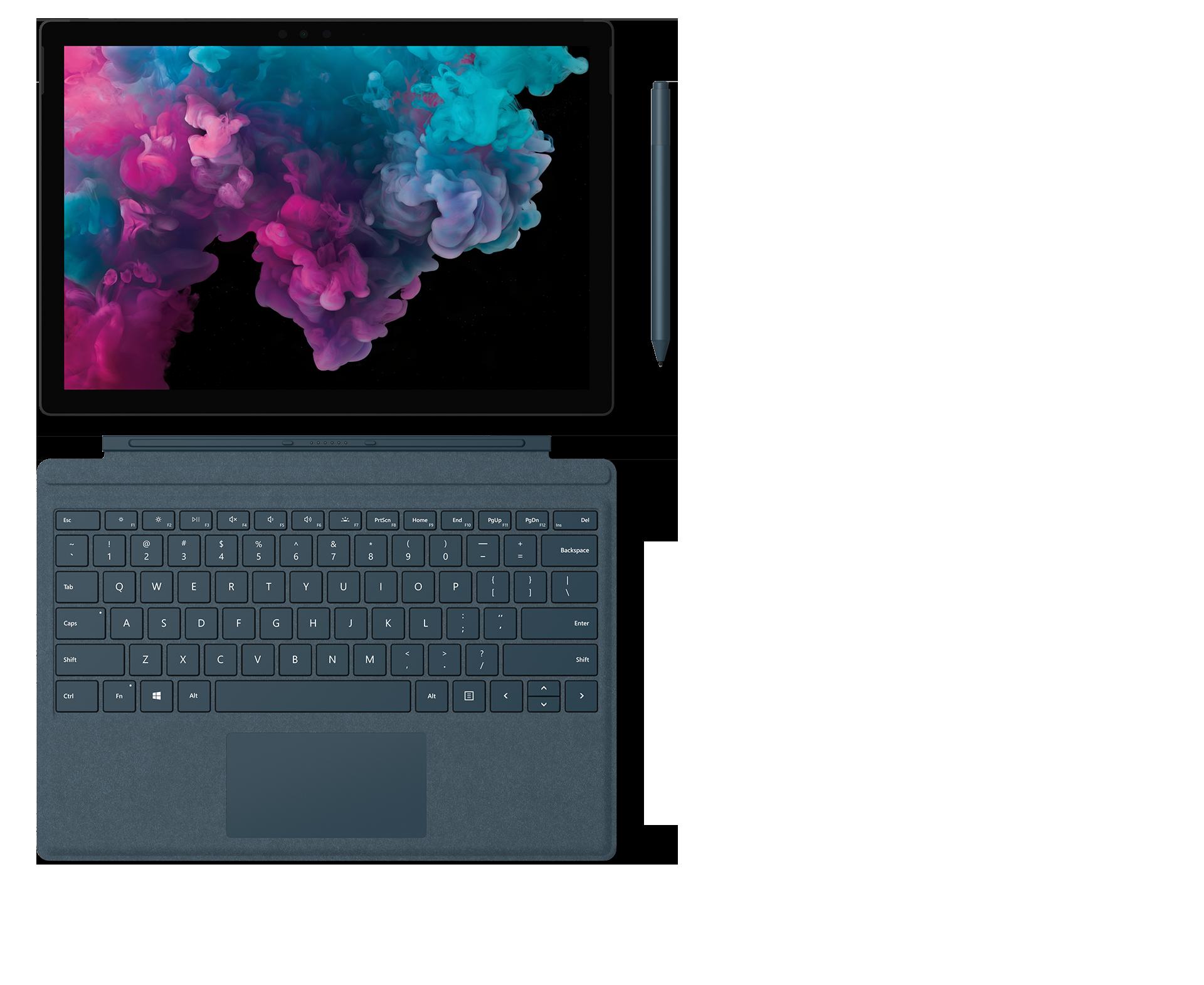 配备 Surface 专业键盘盖、Surface 触控笔和 Surface Arc Mouse 鼠标的 Surface Pro 6。