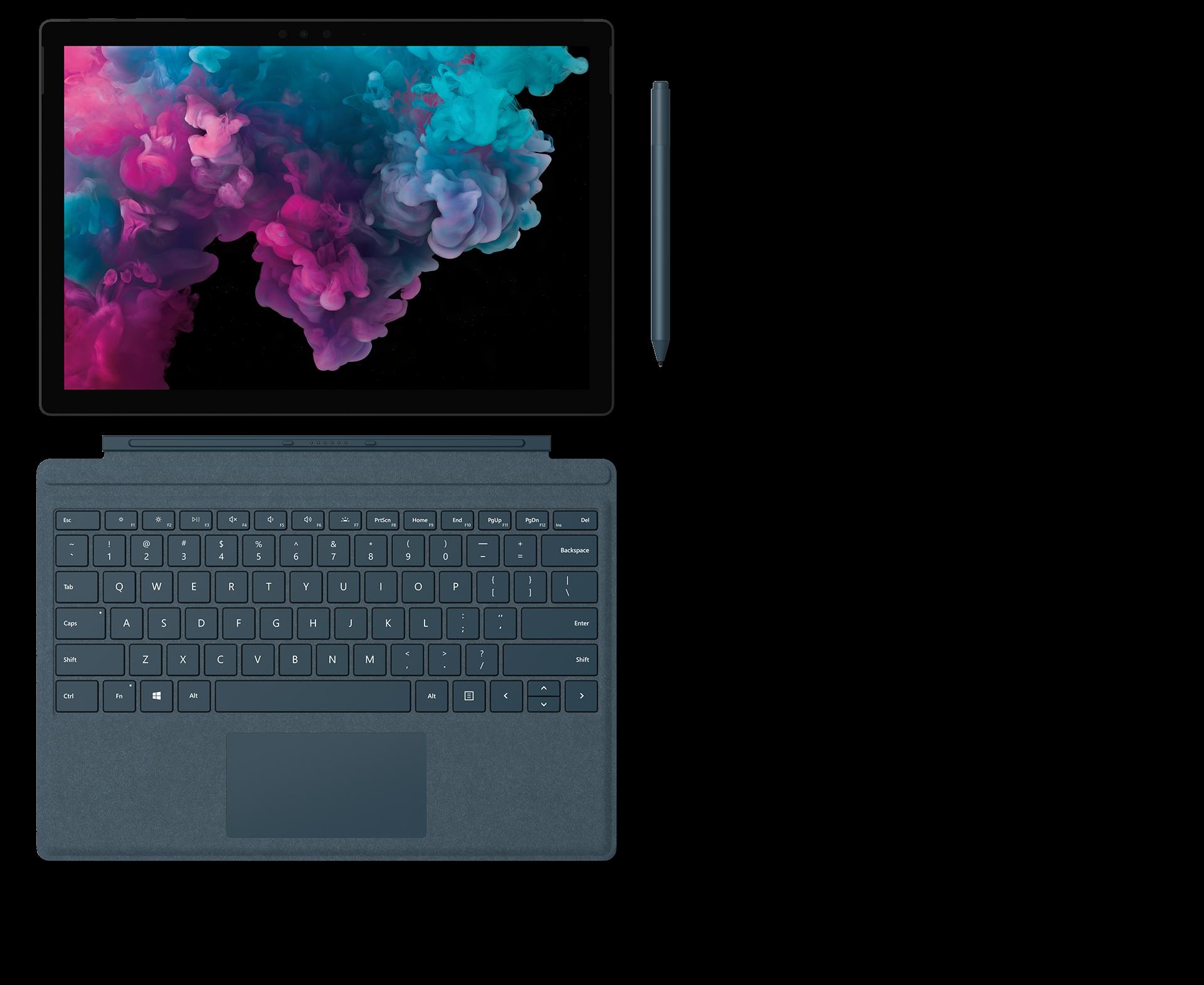 配备 Surface 专业键盘盖、Surface 触控笔和 Surface Arc 鼠标的 Surface Pro 6 。