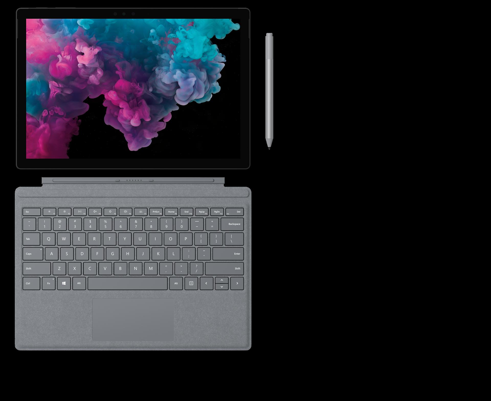 配備 Surface 專業鍵盤蓋、Surface 觸控筆和 Surface Arc 鼠標的 Surface Pro 6 。