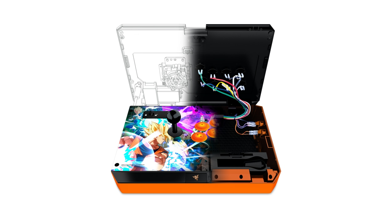Interior view of the view of the Razer Dragon Ball FighterZ Atrox Arcade Stick for Xbox One
