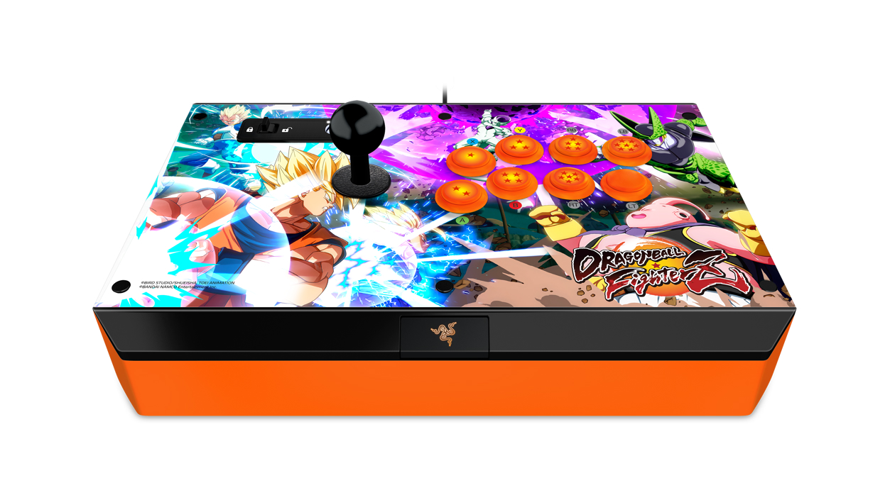Front view of the Razer Dragon Ball FighterZ Atrox Arcade Stick for Xbox One