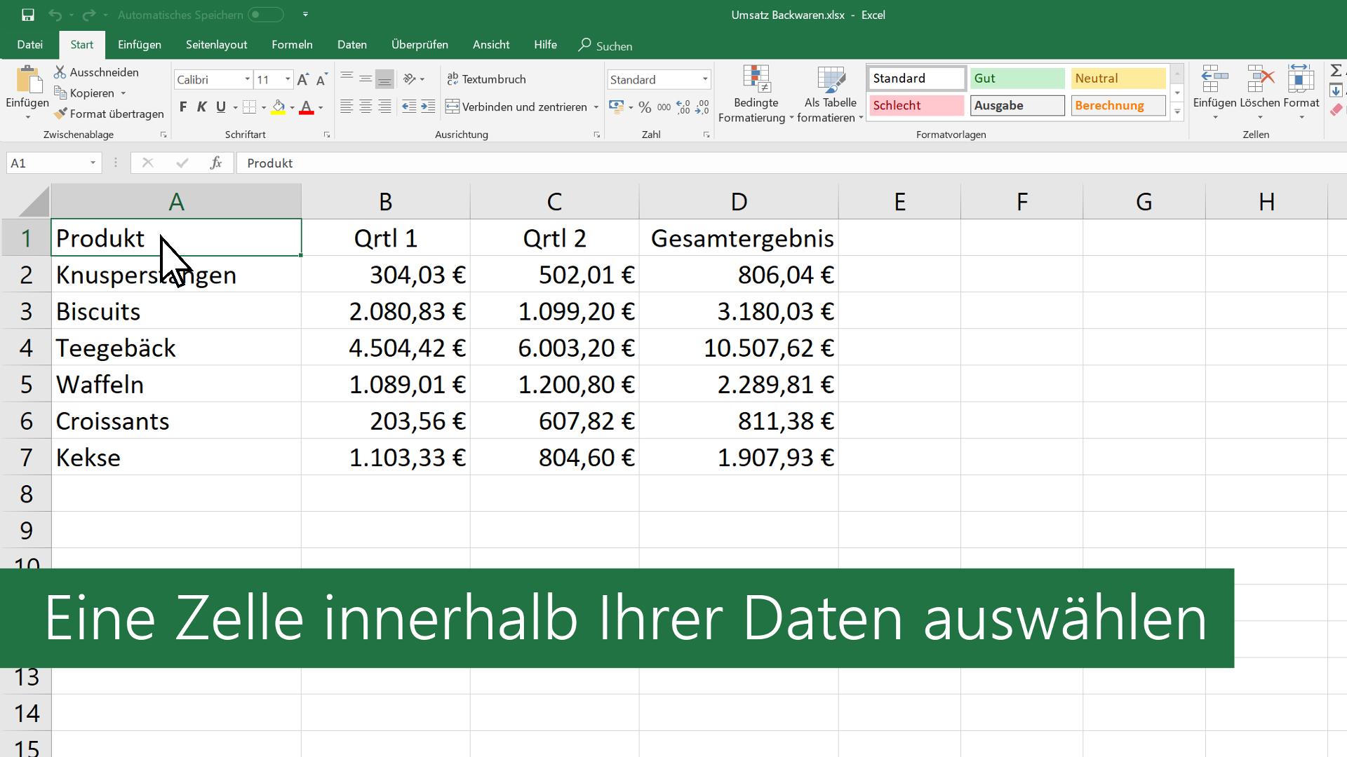 Video: Erstellen einer Tabelle - Excel