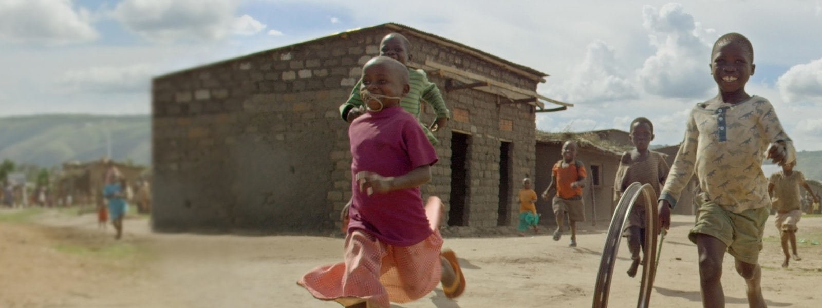 Children playing in an African village.