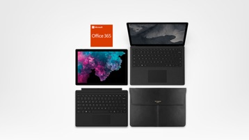Surface Pro 6, Surface Laptop 2, Case, Surface Pro Type Cover, Office 365