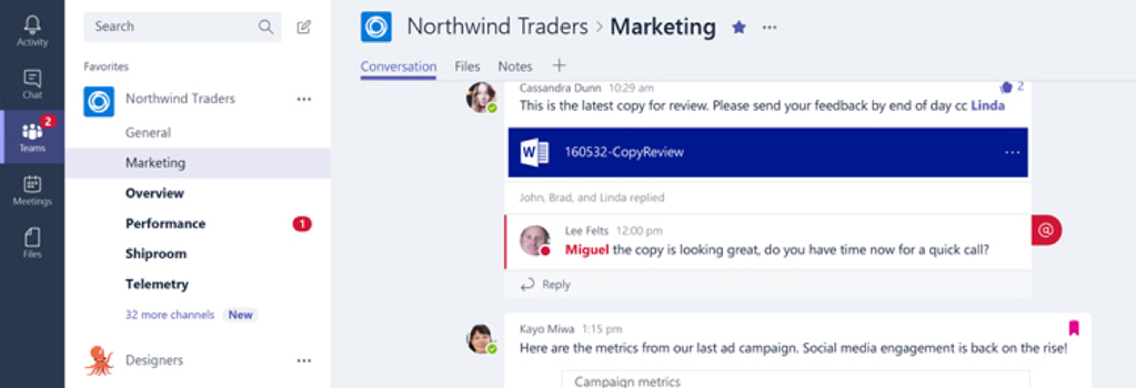 Image of Microsoft Teams screen displaying an on-going conversation between team members including shared information and visuals